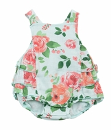 Angel Dear Baby Girls Aqua / Pink Rose Garden Ruffle Bubble
