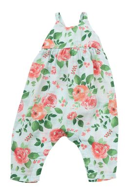 Angel Dear Baby Girls Aqua / Pink Rose Garden Tie Back Romper
