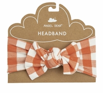 Angel Dear Baby Girls Bow Headband - Pumpkin Orange Gingham