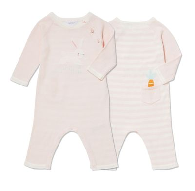 Angel Dear Baby Girls Bunny Intarsia Knit Coverall - Pink