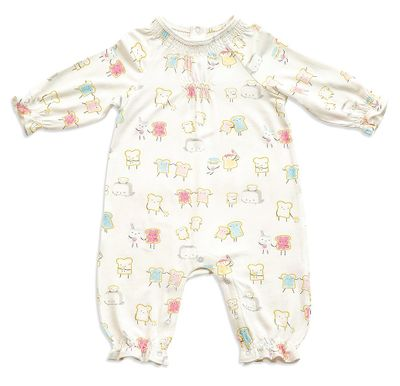 Angel Dear Baby Girls Ivory Jelly Toast Smocked Romper