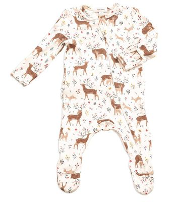 Angel Dear Baby Girls Ivory Little Deer Zipper Footie