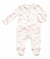 Angel Dear Baby Girls Ivory / Pink Cosmic Unicorn Ruffle Zip Footie