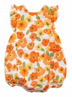 Angel Dear Baby Girls Orange Poppies Floral Bubble Sunsuit