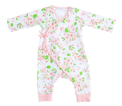 Angel Dear Baby Girls Pink Cherry Blossom Wrap Coverall Romper