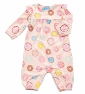 Angel Dear Baby Girls Pink Donuts Ruffle Sleeve Romper