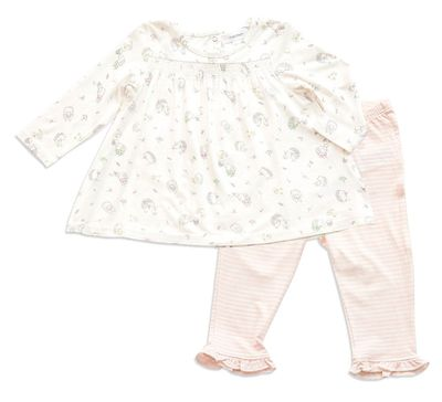 Angel Dear Baby Girls Pink Hedgehog Explorer Smocked Top with Pants
