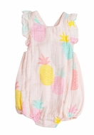 Angel Dear Baby Girls Pink Pineapples Sunsuit Bubble