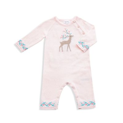 Angel Dear Baby Girls Pink Western Wilderness Knit Deer Coverall