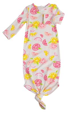 Angel Dear Baby Girls Pink / Yellow Citrus Print Knotted Gown