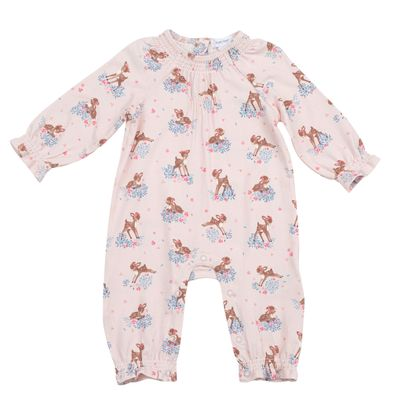 Angel Dear Baby Girls Ruffle Sleeve Romper - Pink Woodland Deer
