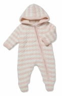 Angel Dear Baby Girls Sherpa Hooded Footie - Pink Stripe