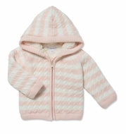 Angel Dear Baby Girls Sherpa Zip Hoodie Jacket - Pink Stripe