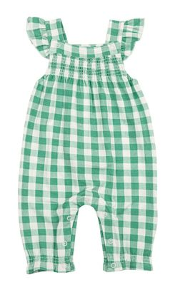 Angel Dear Baby Girls Smocked Front Coverall Romper - Green Gingham