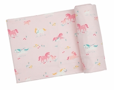 Angel Dear Baby Girls Swaddle Blanket - Pink Ponies
