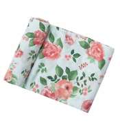 Angel Dear Baby Girls Swaddle Blanket - Aqua / Pink Rose Garden