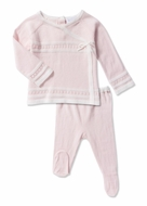 Angel Dear Baby Girls Take Me Home Pink Sweater Knit Footed Pant Set