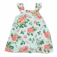 Angel Dear Baby / Toddler Girls Aqua / Pink Rose Garden Sun Dress