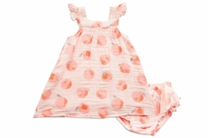 Angel Dear Baby / Toddler Girls Peachy Coral Peachy Muslin Sun Dress - Infant Sizes Include Diaper Cover