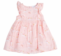 Angel Dear Baby / Toddler Girls Peachy Pink Unicorns Ruffle Sun Dress