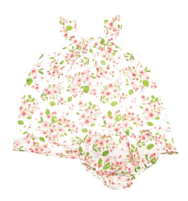 Angel Dear Baby / Toddler Girls Pink Cherry Blossom Sun Dress - Infant Sizes Include Diaper Cover