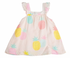 Angel Dear Baby / Toddler Girls Pink Pineapples Sun Dress - Infant Sizes Include Diaper Cover