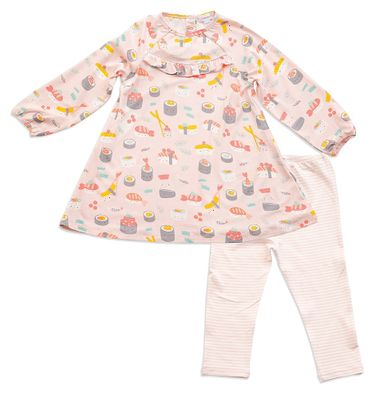 Angel Dear Baby / Toddler Girls Pink Sushi Dress with Leggings
