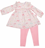 Angel Dear Baby / Toddler Girls Ruffle Dress with Leggings - Pink Ponies