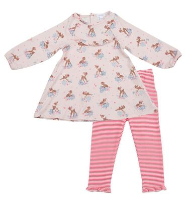 Angel Dear Baby / Toddler Girls Ruffle Dress with Leggings - Pink Woodland Deer