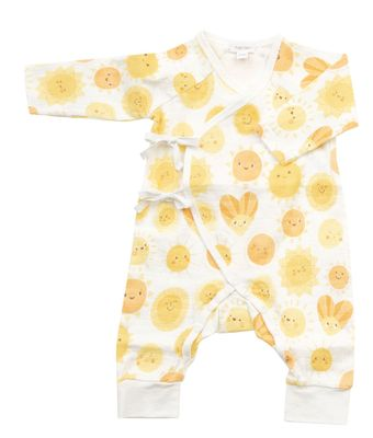 Angel Dear Baby Yellow Sunshine Wrap Coverall Romper