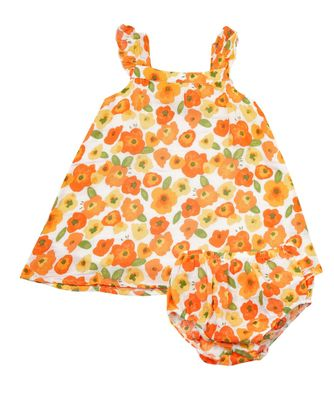 Angel Dear Baby / Toddler Girls Orange Poppies Floral Sun Dress - Infant Sizes Include Bloomers