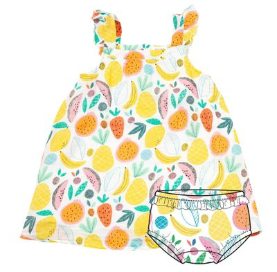 Angel Dear Baby / Toddler Girls Yellow Tropical Fruit Sun Dress - Infant Sizes Include Bloomers