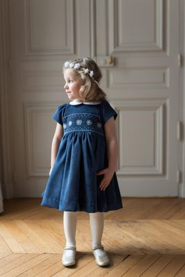 Antoinette Paris Girls Hand Smocked Adele Dress - Signature Butterfly Bow - Navy Blue Corduroy