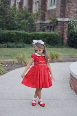 Antoinette Paris Girls Hand Smocked Bows Eloise Dress - Signature Butterfly Bow - Christmas Red