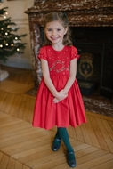 Antoinette Paris Girls Hand Smocked Clara Dress - Signature Butterfly Bow - Christmas Red