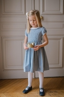 Antoinette Paris Girls Hand Smocked Faustine Dress - Signature Butterfly Bow - Baltic Blue
