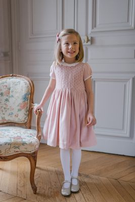 Antoinette Paris Girls Hand Smocked Faustine Dress - Signature Butterfly Bow - Pink