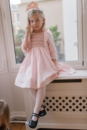Antoinette Paris Girls Hand Smocked Letitia Dress - Signature Butterfly Bow - Pink