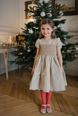 Antoinette Paris Girls Hand Smocked Louise Dress - Signature Butterfly Bow - Gold Silk