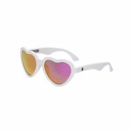Babiators Sunglasses - The Sweetheart - White Heart Shape with Polarized Pink Mirror Lens