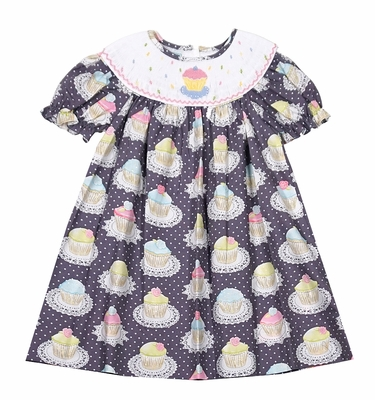 Baby Girls Gray / Pink Cupcake Print Birthday Dress - Smocked Cupcake - Exclusively for The Best Dressed Child by Anavini