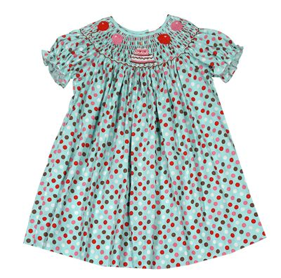 Baby Girls Turquoise Dots Bishop Dress - Smocked Birthday Cake & Balloons - Exclusively for The Best Dressed Child by Anavini