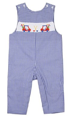 Baby / Toddler Boys Blue Gingham Longall - Smocked Golf Theme - Exclusively for The Best Dressed Child by Anavini
