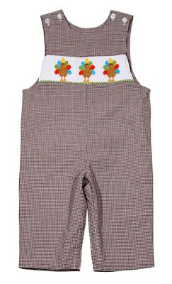 Baby / Toddler Boys Brown Check Longall - Smocked Thanksgiving Turkeys - Exclusively for The Best Dressed Child by Anavini