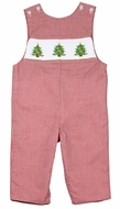 Baby / Toddler Boys Red  Check Smocked Christmas Trees Longall - Exclusively for The Best Dressed Child by Anavini
