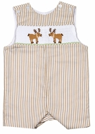 Baby / Toddler Boys Tan Khaki Striped Smocked Moose Buck Jon Jon - Exclusively for The Best Dressed Child by Anavini