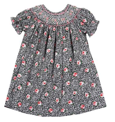 Baby / Toddler Girls Black / Pink Roses Floral Smocked Bishop Dress - Exclusively for The Best Dressed Child by Anavini