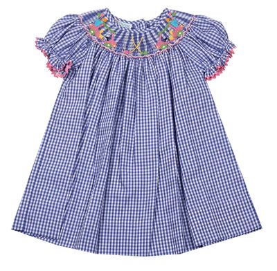 Baby / Toddler Girls Blue Gingham Bishop Dress - Smocked Golf Theme - Exclusively for The Best Dressed Child by Anavini