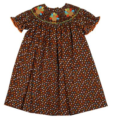 Baby / Toddler Girls Brown Dots Bishop Dress - Smocked Thanksgiving Turkeys - Exclusively for The Best Dressed Child by Anavini