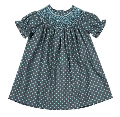Baby / Toddler Girls Gray / Blue Dots Smocked Bishop Dress - Exclusively for The Best Dressed Child by Anavini